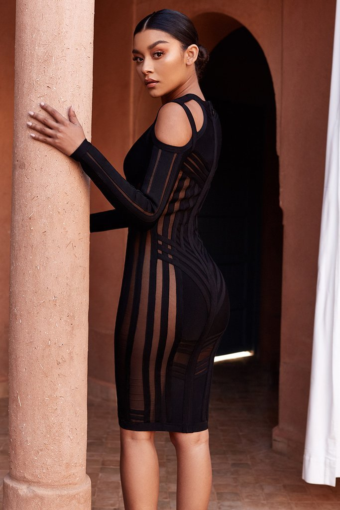 black long sleeve bodycon midi dress