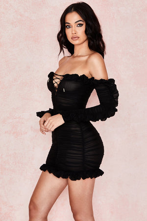 black long sleeve off shoulder frill dress