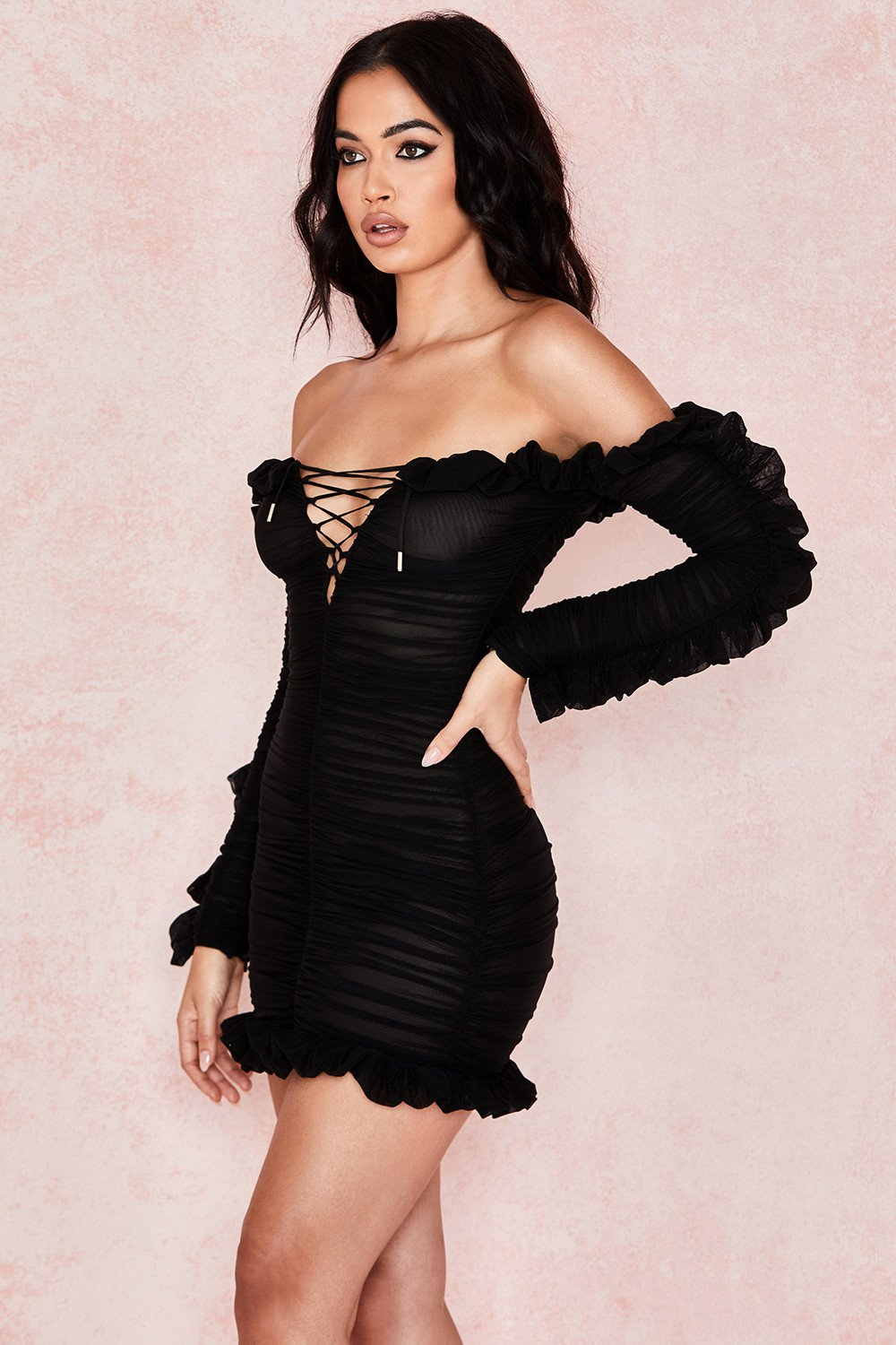 black long sleeve off shoulder lace up dress