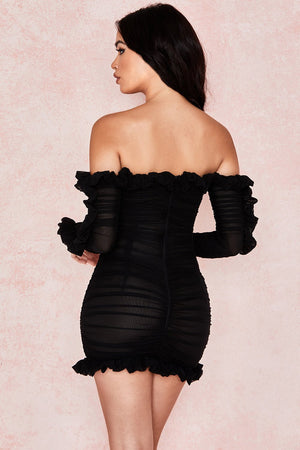 black off shoulder frill bodycon dress