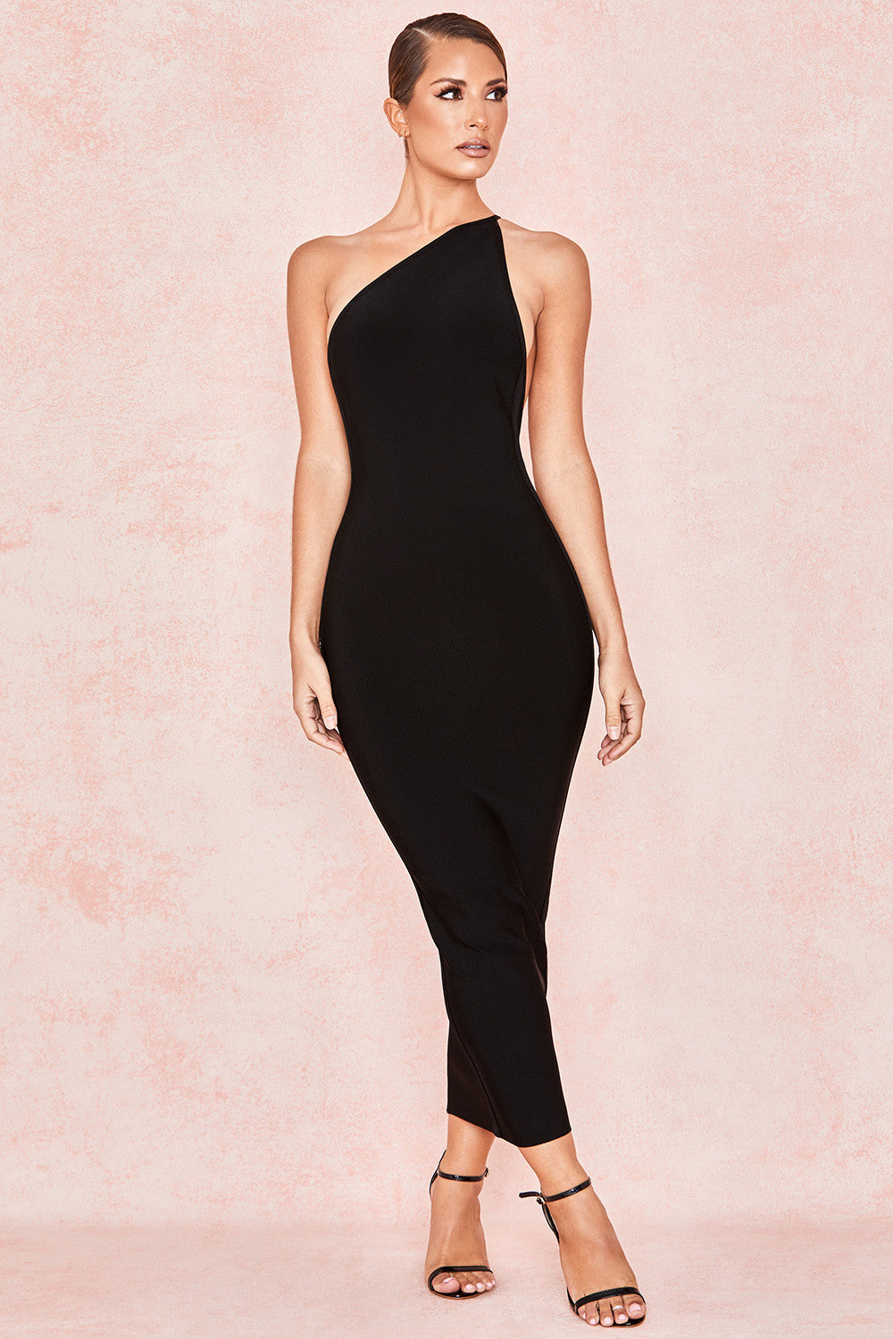 black one shoulder bodycon dress