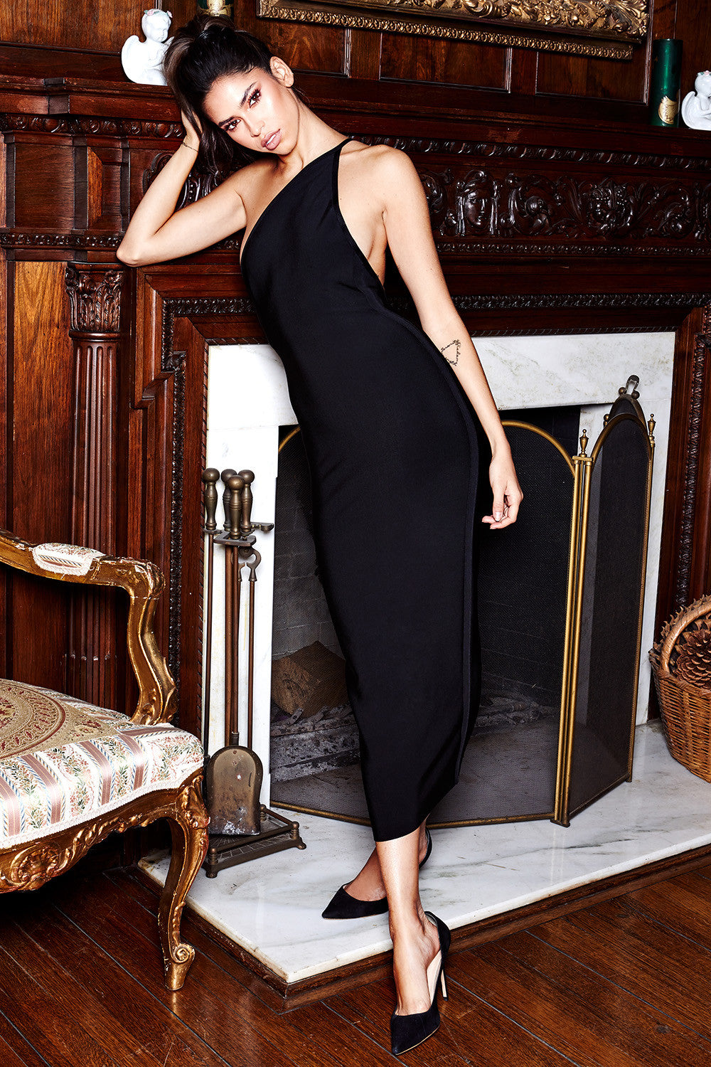 black one shoulder evening dress
