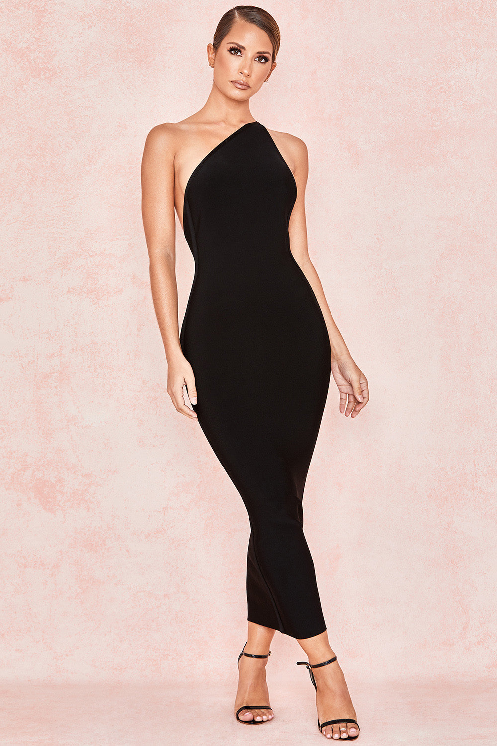 black one shoulder maxi cocktail dress