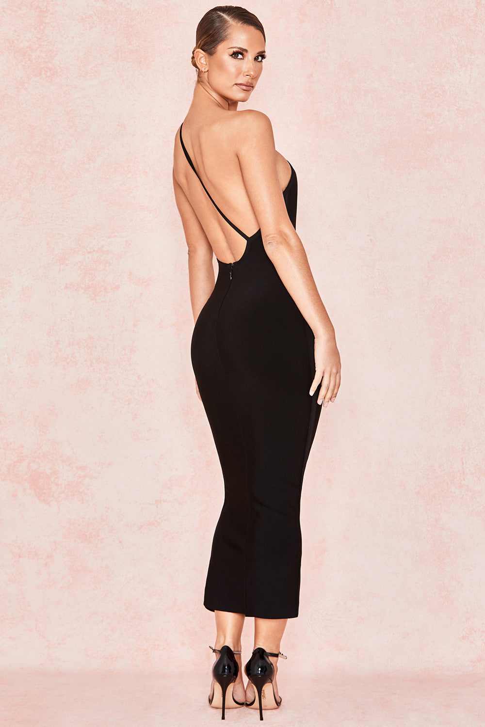 black open back cocktail dress