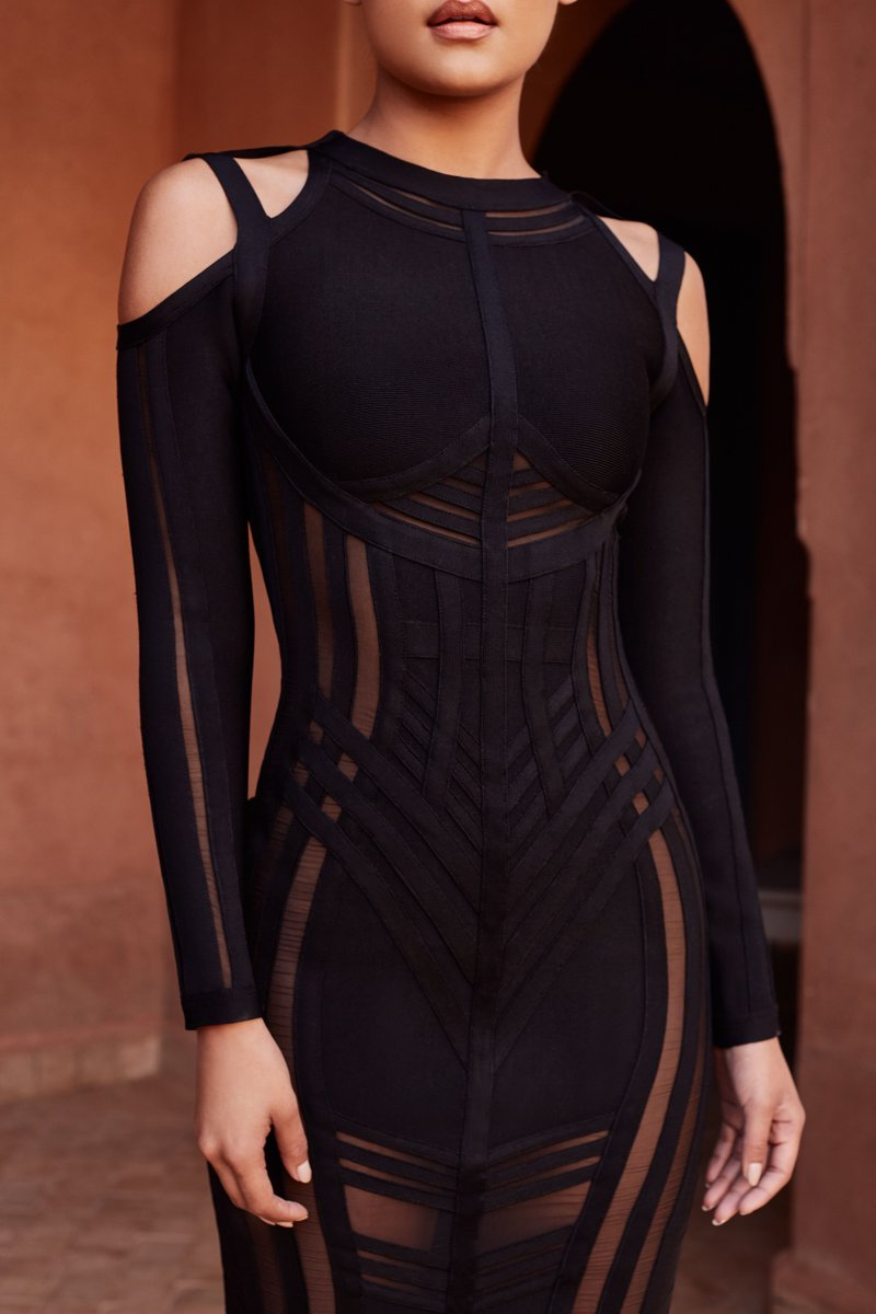 black shoulder cut out long sleeve bodycon dress