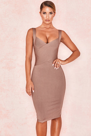 brown bandage dress