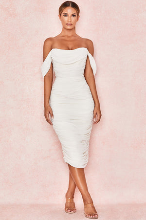 dropped shoulder sleeve midi dress
