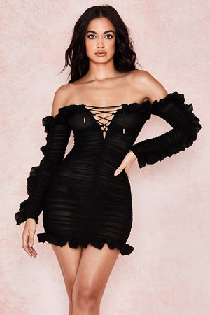 Open image in slideshow, frilled off shoulder dress