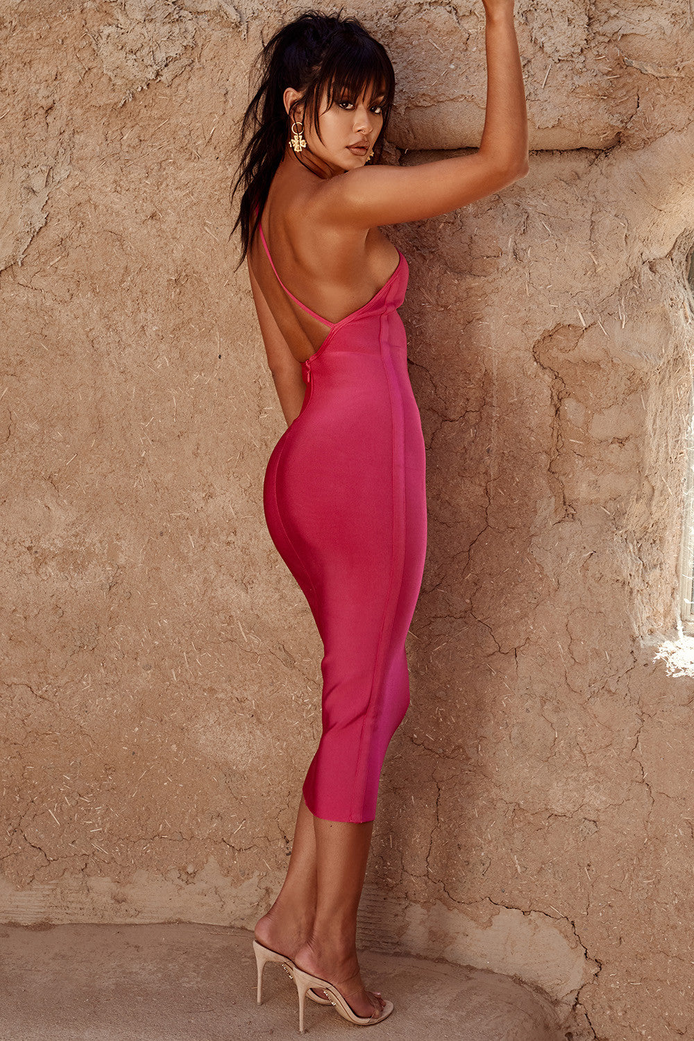 hot pink open back cocktail dress