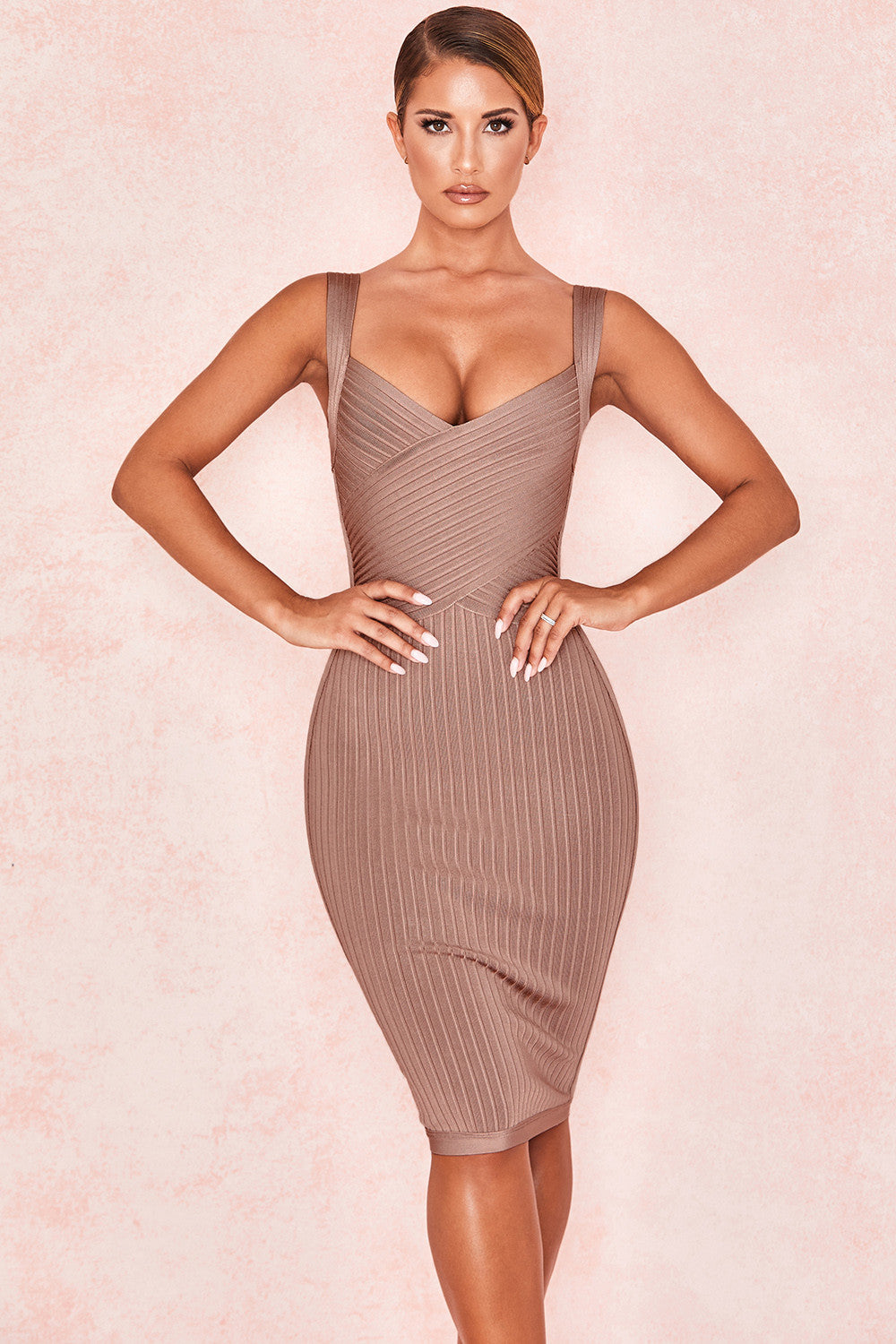 khaki bandage dress