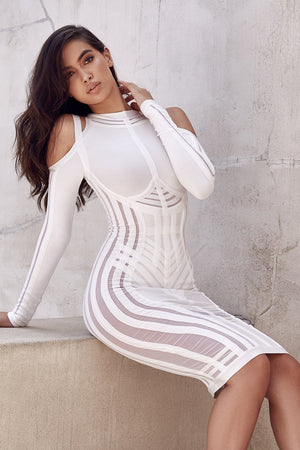 Open image in slideshow, long sleeve bodycon dress