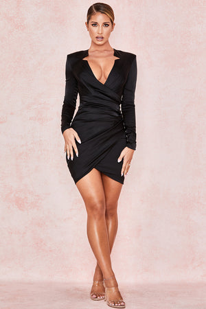 long sleeve satin cutout dress