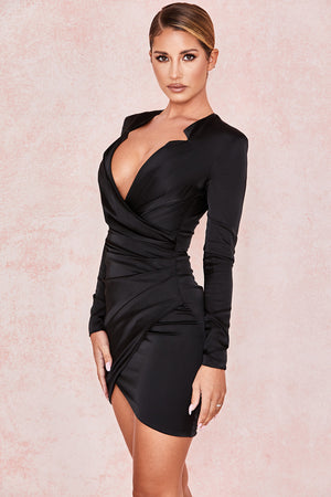 long sleeve satin dress