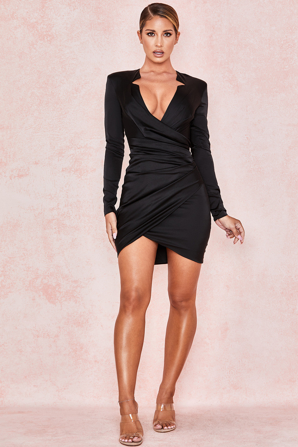 long sleeve satin mini dress