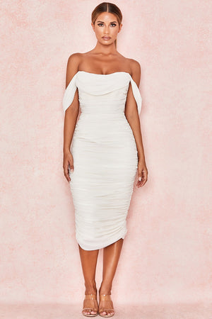 off shoulder white ruched midi dress