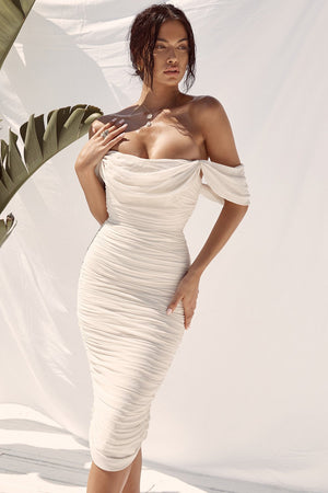 Open image in slideshow, off the shoulder midi dress