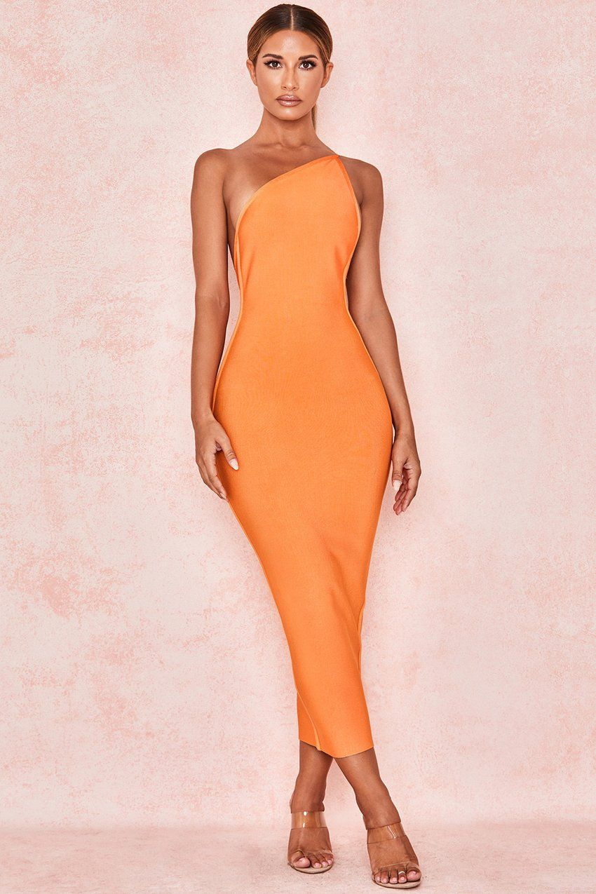 orange one shoulder bodycon cocktail dress