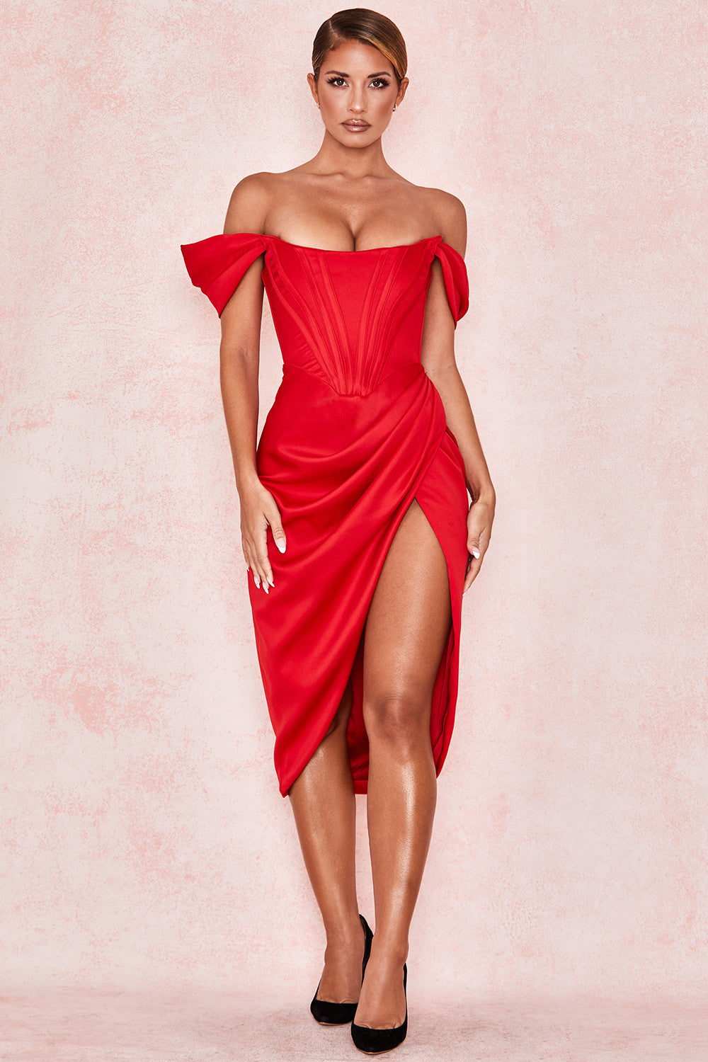 red off the shoulder midi dress with thigh slit