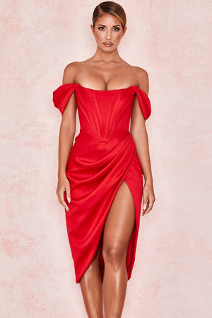 Open image in slideshow, red off the shoulder cocktail dress