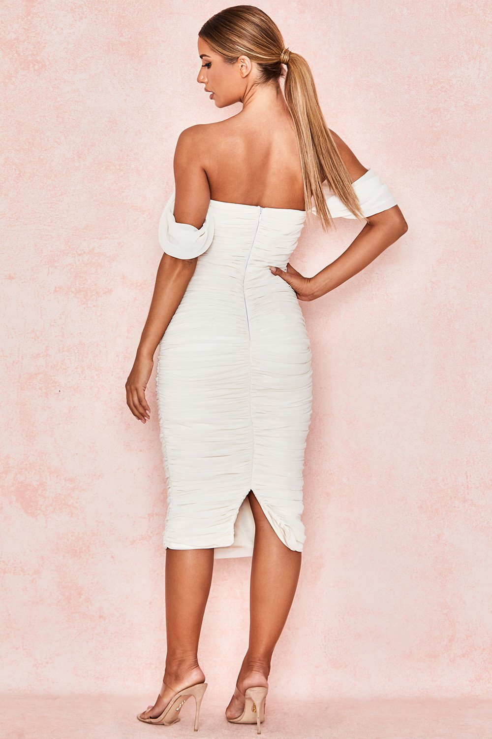 ruched off shoulder midi dress