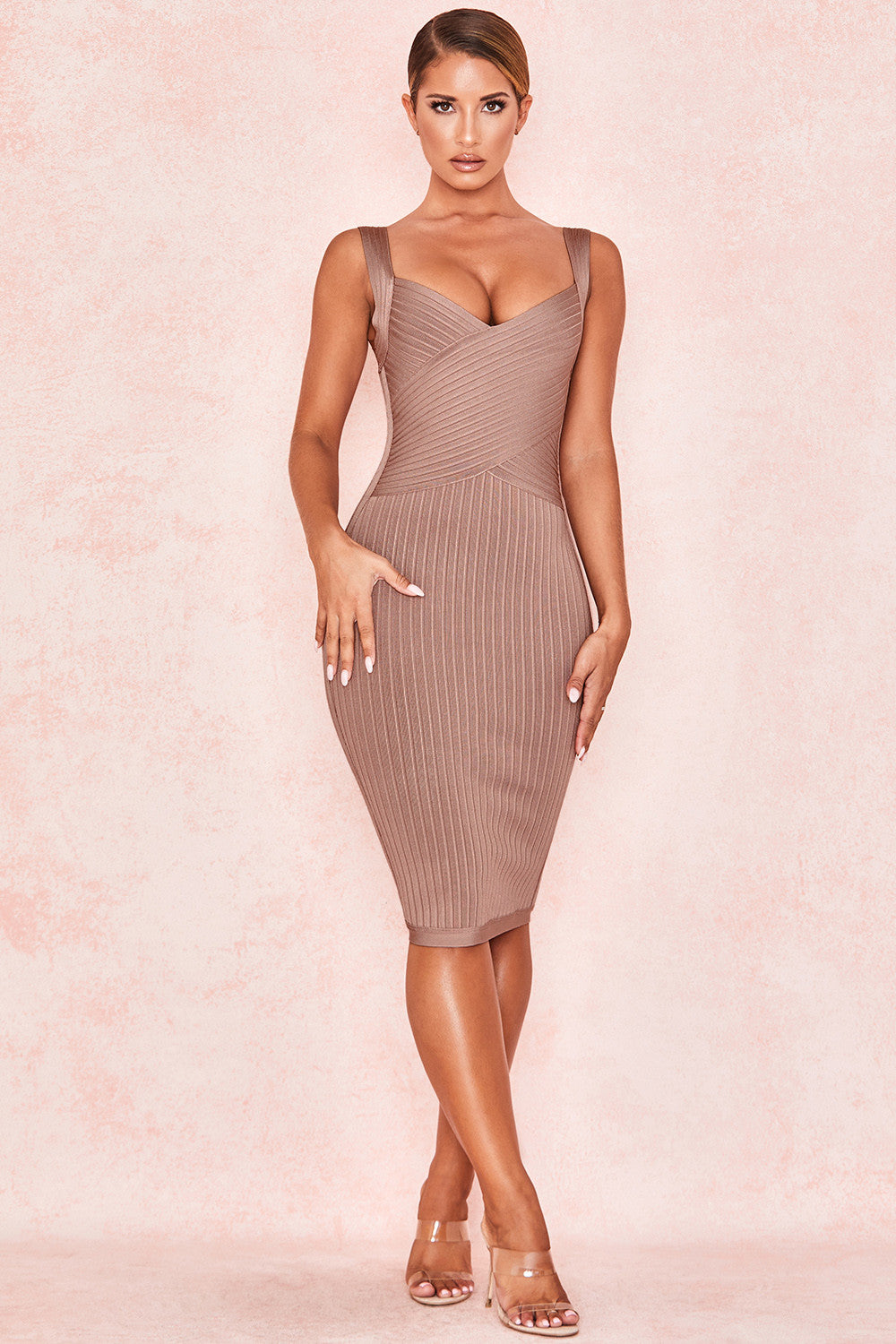 shoulder strap bandage dress