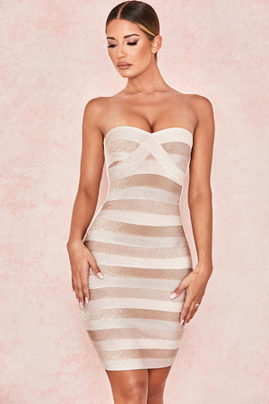 Open image in slideshow, strapless bandage dress