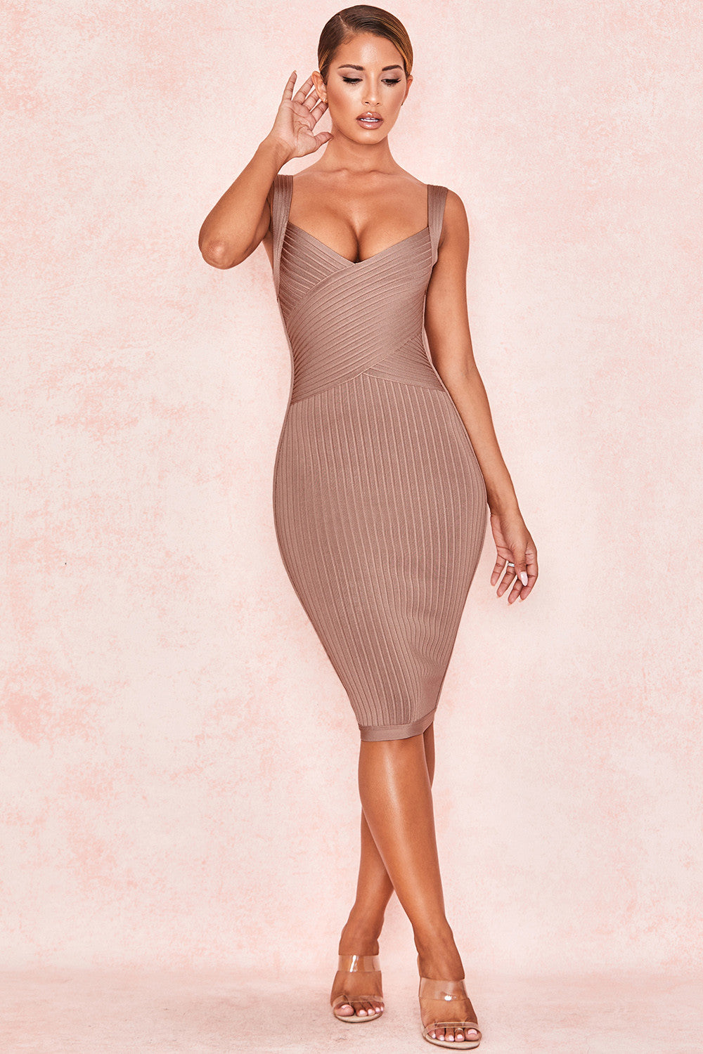 tan bandage dress