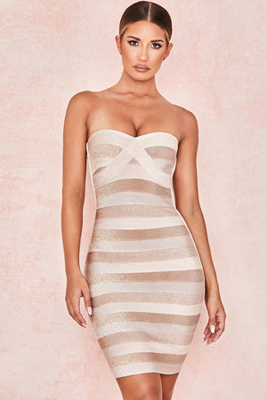 tan evening dress