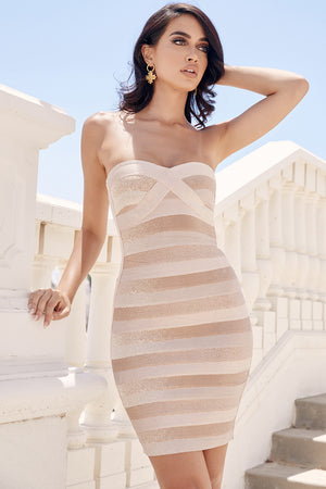tan strapless bandage dress