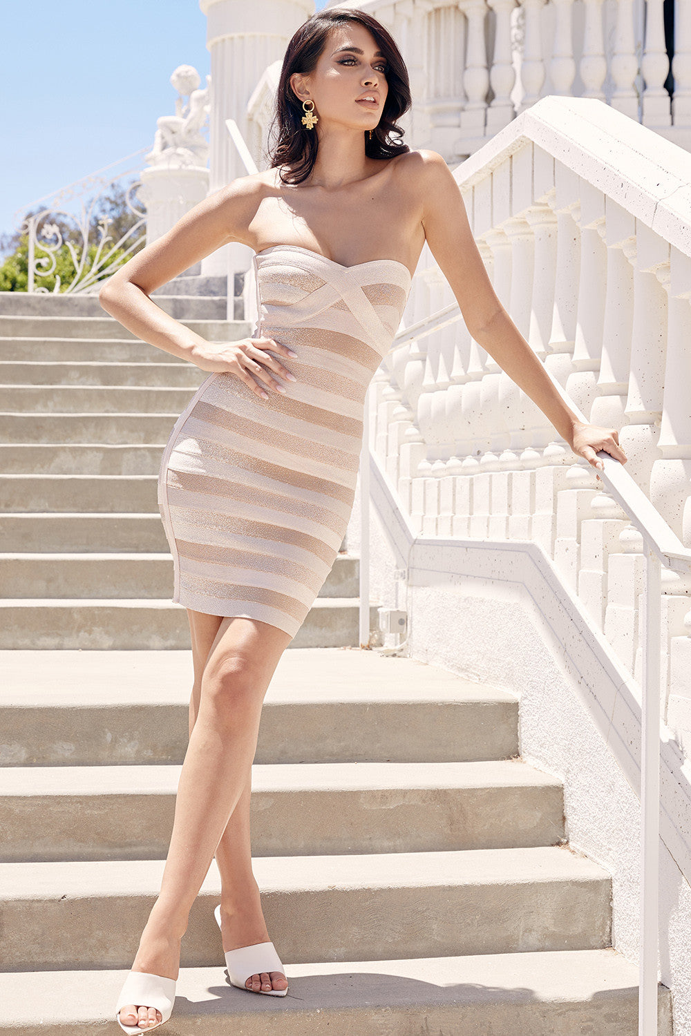 tan strapless cocktail dress