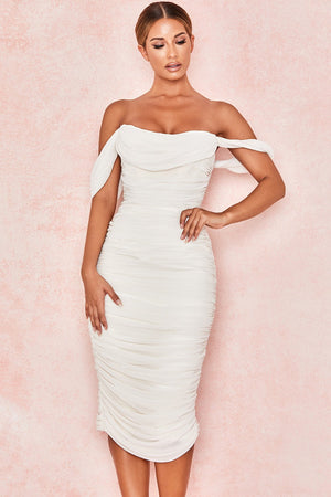white draped midi dress