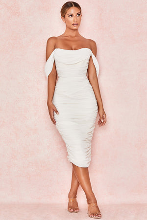white drop shoulder sleeve midi dress