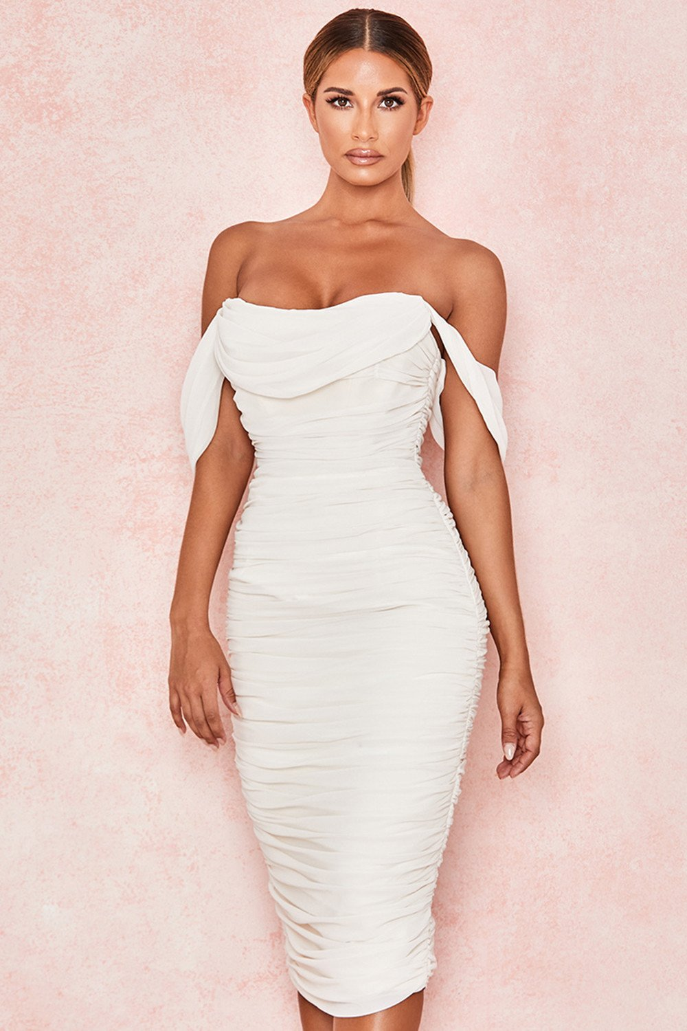 white off shoulder midi dress
