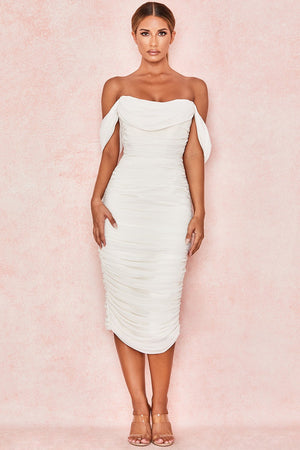 white off shoulder occasion dress