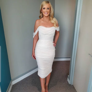 white off the shoulder evening dress
