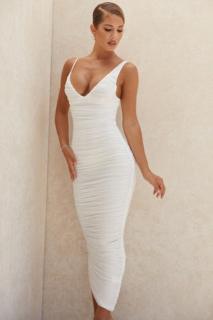 whit ruched bodycon dress