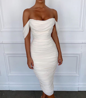 white ruched off shoulder midi dress