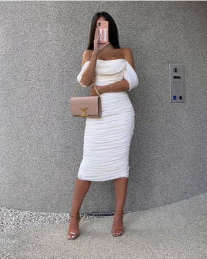 white ruched off the shoulder midi dress