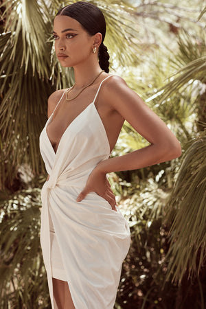 white thin spaghetti strap plunge dress