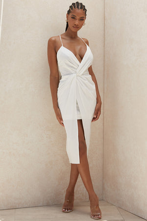 white thin strap plunge dress