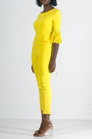 JAUNE PUFF SLEEVES JUMPSUIT