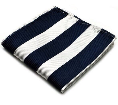 NAVY AND WHITE STRIPE POCKET SQUARE - Stopshop London