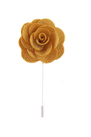 Silk Boutonniere Lapel Pin - Gold