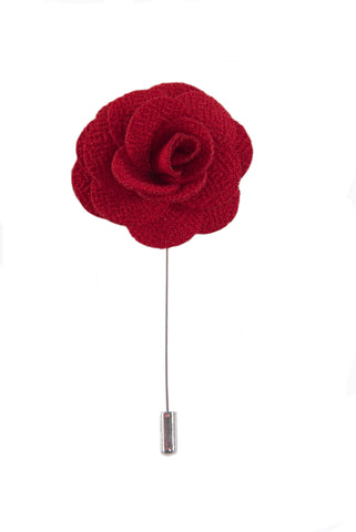 Silk Boutonniere Lapel Pin - Carnation Pink