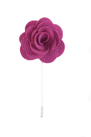 Flower lapel pin - Magenta Purple