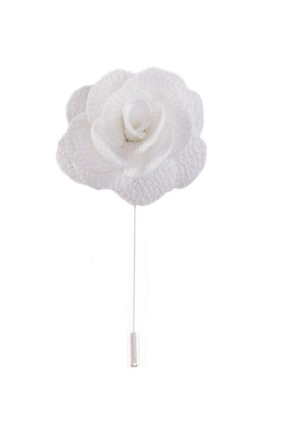 Flower lapel pin - White - Stopshop London