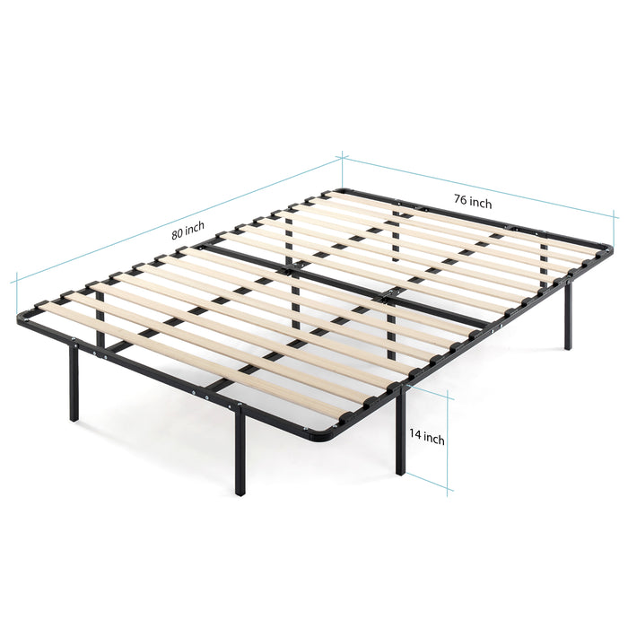 "14"" Metal Platform Bed with Wooden Slats - bpmatt"