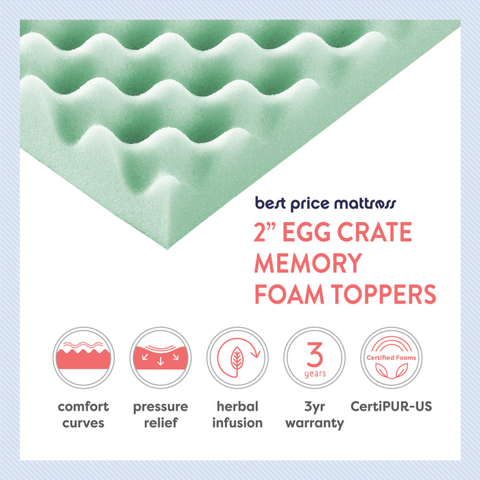 "2"" Egg Crate Memory Foam Topper with Herbal Infusion - bpmatt"