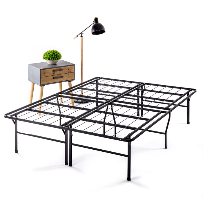"14""-18"" Bifold Metal Platform Bed with Heavy Duty Steel Slats - bpmatt"
