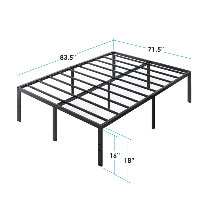 "18"" Metal Platform Bed with Heavy Duty Steel Slats - bpmatt"